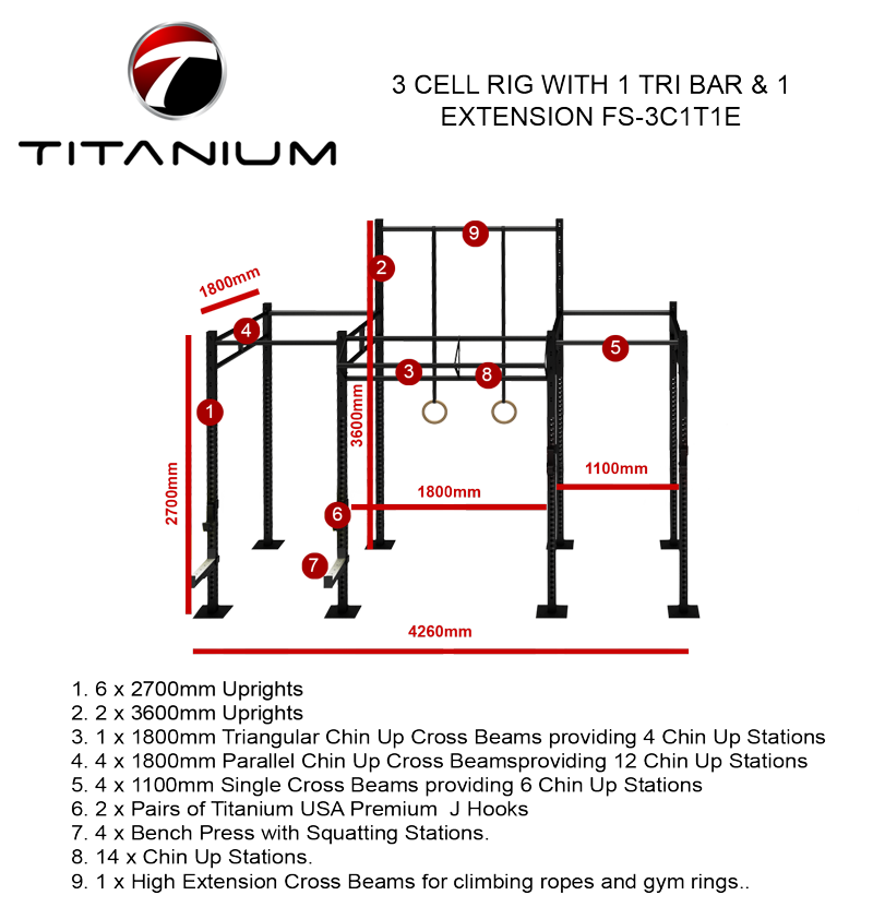 3 CELL RIG WITH 1 TRI BAR & 1 EXTENSION FS-3C1T1E