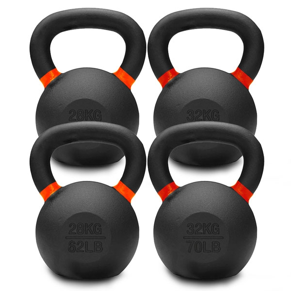 28KG TO 32KG PREMIUM POWDER COATED KETTLEBELLS DOUBLE PACK