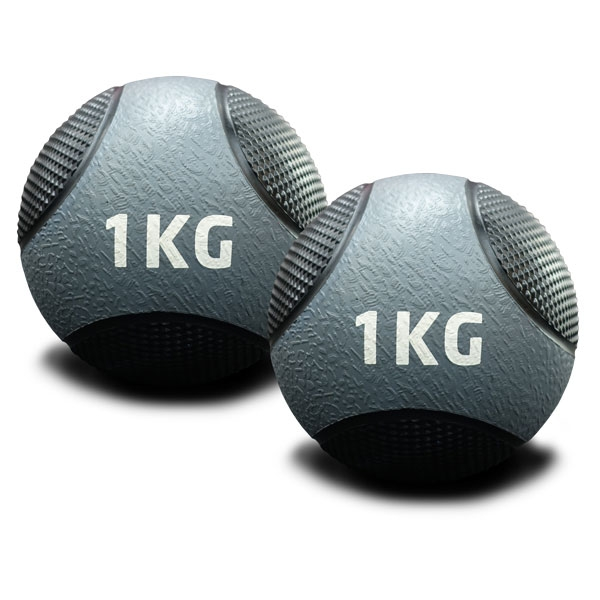 1 KG RUBBER MEDICINE BALLS DOUBLE PACK