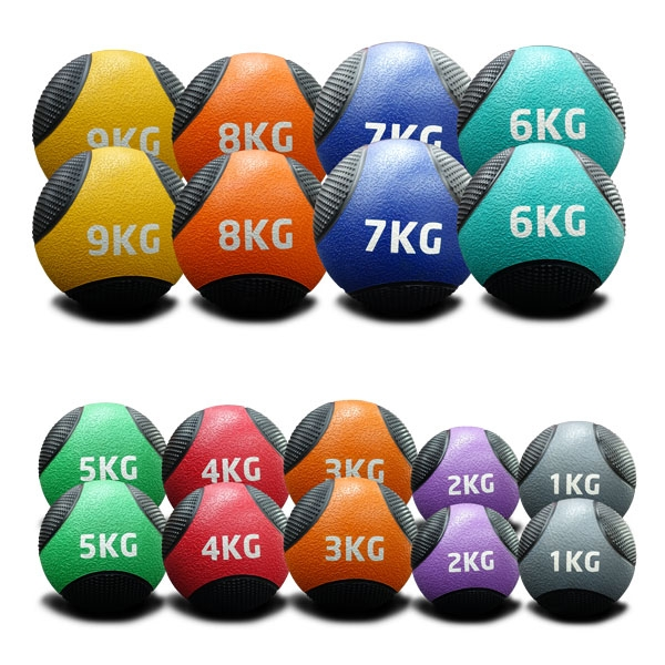 1KG TO 9KG RUBBER MEDICINE BALLS DOUBLE PACK