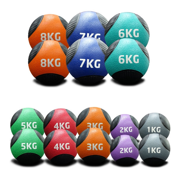 1KG TO 8KG RUBBER MEDICINE BALLS DOUBLE PACK