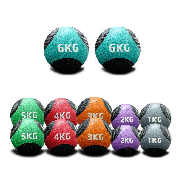 1KG TO 6KG RUBBER MEDICINE BALLS DOUBLE PACK