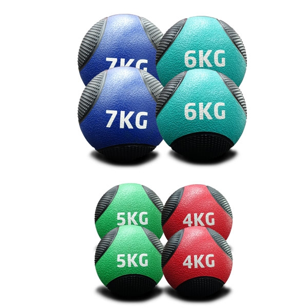 4KG TO 7KG RUBBER MEDICINE BALLS DOUBLE PACK