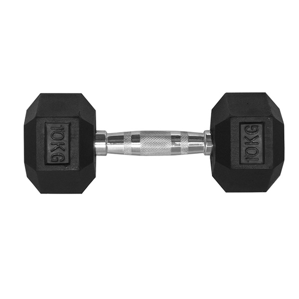 10KG HEX RUBBER COATED DUMBBELL - TITANIUM USA™