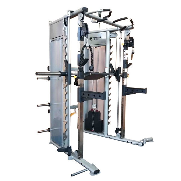 TITANIUM USA F90 PLATINUM SERIES FUNCTIONAL SMITH MACHINE WITH WEIGHT STACKS - SILVER FRAME